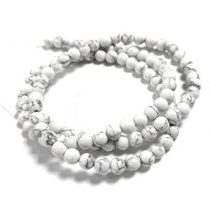 White/Grey Howlite Grade A Plain Round Beads 4mm Strand Of 90+ Pieces Y09020