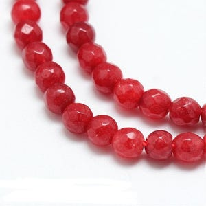 Red Malaysian Jade Grade A Faceted Round Beads 4mm Strand Of 90+ Pieces Y09040