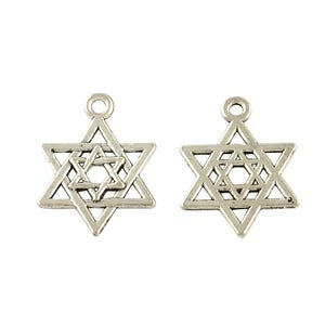Antique Silver Tibetan Zinc Star Of David Charms 21mm Pack Of 20 Y09105