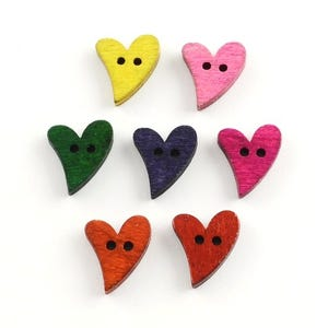 Mixed-Colour Wood 16mm x 18mm 2-Hole Heart Buttons Pack Of 20 Y09135