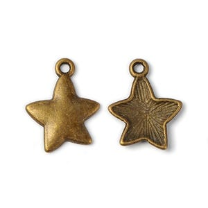 Steampunk Antique Bronze Tibetan Zinc Star Charms 16mm x 20mm Pack Of 10 Y09145
