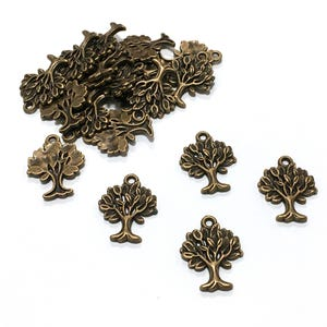 Steampunk Antique Bronze Tibetan Zinc Tree Charms 22mm Pack Of 20 Y09235