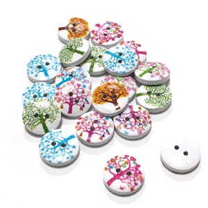 White/Mixed-Colour Wood 15mm 2-Hole Round Tree of Life Buttons Pack Of 20 Y09245