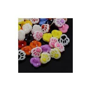 Mixed-Colour Acrylic 12mm x 14mm Shank Paw Print Buttons Pack Of 20 Y09260