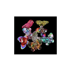 Mixed-Colour AB Acrylic 15mm x 21mm Shank Butterfly Buttons Pack Of 20 Y09280