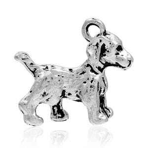 Antique Silver Tibetan Zinc Dog Charms 21mm Pack Of 5 Y09290