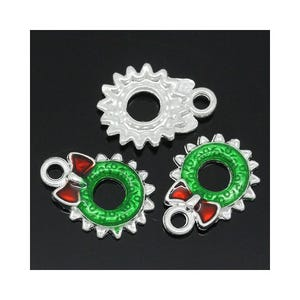 Silver/Red Enamel & Alloy Christmas Wreath Charms 13mm x 18mm Pack Of 3 Y09470