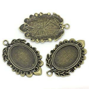 Antique Bronze Zinc Alloy 29.2mm x 46.8mm Oval Cabochon Settings Pack Of 4 Y09540