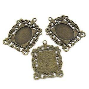 Antique Bronze Zinc Alloy 34.5mm x 46.3mm Oval Cabochon Settings Pack Of 4 Y09575