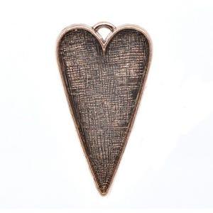 Copper Zinc Alloy 29.5mm x 53.5mm Heart Cabochon Setting  Y09650