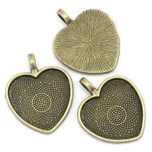 Antique Bronze Zinc Alloy 28.2mm x 40mm Heart Cabochon Settings Pack Of 4 Y09820