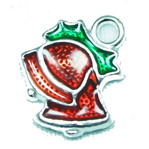 Silver/Red Enamel & Alloy Christmas Jingle Bell Charms 13mm x 15mm Pack Of 4 Y09880