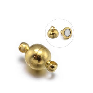 Gold Brass 6mm x 11mm Round Magnetic Clasps Pack Of 5 Y10080