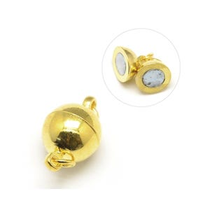 Gold Brass 8mm x 14mm Round Magnetic Clasps Pack Of 4 Y10090