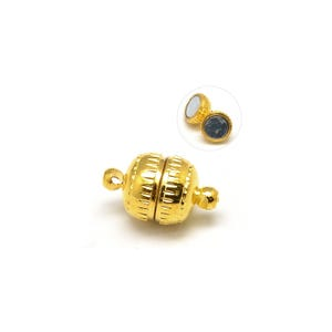 Gold Brass 6mm x 11mm Round Magnetic Clasps Pack Of 5 Y10175