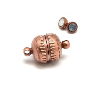 Red Copper Brass 6mm x 11mm Round Magnetic Clasps Pack Of 5 Y10195