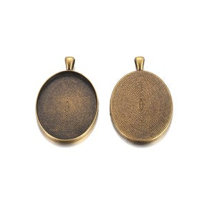 Antique Bronze Metal Alloy 32mm x 50mm Oval Cabochon Settings Pack Of 4 Y10355