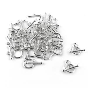 Silver Metal Alloy 10mm x 14mm Round Toggle Clasps Pack Of 30 Y10395