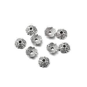 Antique Silver Metal Alloy 7mm Flower Bead Caps Pack Of 110+ Y10475