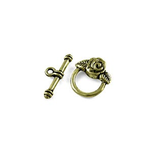 Antique Bronze Metal Alloy 18mm x 19mm Rose Toggle Clasps Pack Of 12 Y10510
