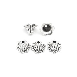 Antique Silver Metal Alloy 6mm x 8.5mm Flower Bead Caps Pack Of 50+ Y10570