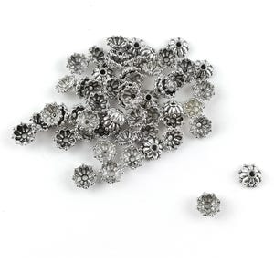 Antique Silver Metal Alloy 3mm x 8mm Flower Bead Caps Pack Of 50+ Y10685