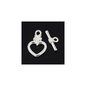 Silver Metal Alloy 13mm x 20mm Heart Toggle Clasps Pack Of 20 Y10690