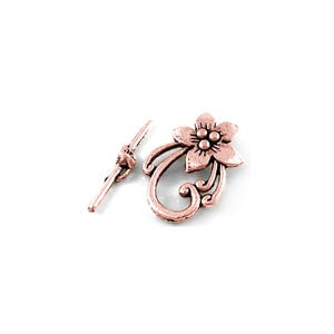 Red Copper Metal Alloy 20mm x 28mm Flower Toggle Clasps Pack Of 10 Y10710