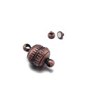 Red Copper Brass 8mm x 13mm Round Magnetic Clasps Pack Of 3 Y10735