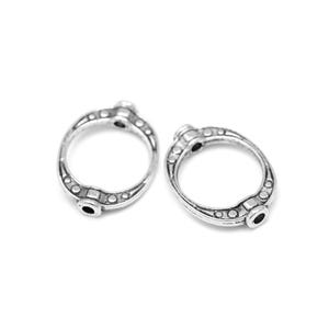 Antique Silver Metal Alloy 10mm x 15mm Oval Bead Frames Pack Of 30 Y10795