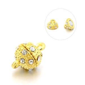 Gold Brass & Rhinestone 9mm x 14mm Round Magnetic Clasps Pack Of 2 Y10905
