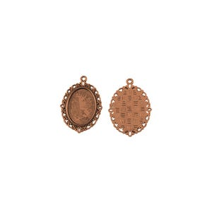Red Copper Metal Alloy 28mm x 38mm Oval Cabochon Settings Pack Of 10 Y10930