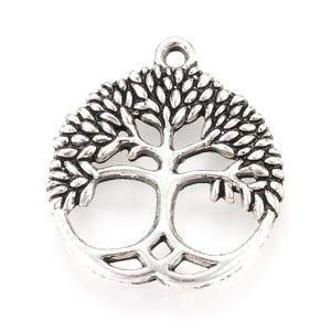 Antique Silver Tibetan Zinc Tree Of Life Pendants 23mm x 26mm Pack Of 10 Y10970
