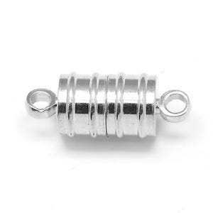 Silver Brass 8mm x 20mm Barrel Magnetic Clasps Pack Of 4 Y10975