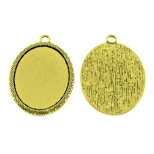 Antique Bronze Metal Alloy 35mm x 50.5mm Oval Cabochon Settings Pack Of 3 Y10985