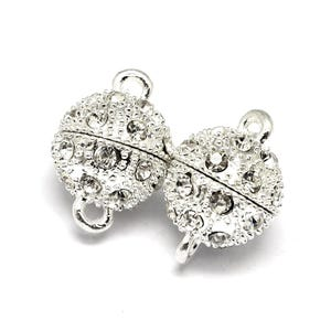 Silver Brass & Rhinestone 8mm x 11.5mm Round Magnetic Clasps Pack Of 2 Y11000