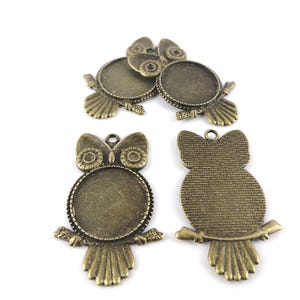 Antique Bronze Metal Alloy 35mm x 55.5mm Owl Cabochon Settings Pack Of 4 Y11010