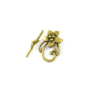 Antique Gold Metal Alloy 20mm x 28mm Flower Toggle Clasps Pack Of 10 Y11015