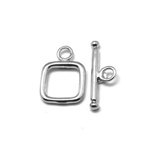 Platinum Brass 15mm x 20mm Square Toggle Clasps Pack Of 3 Y11025
