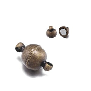 Antique Bronze Brass 6mm x 11mm Round Magnetic Clasps Pack Of 4 Y11030