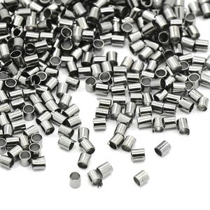 Black Brass 2mm Tube Crimp Beads Pack Of 850+ Y11050