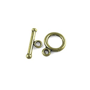 Antique Bronze Metal Alloy 10mm x 14mm Round Toggle Clasps Pack Of 30 Y11175