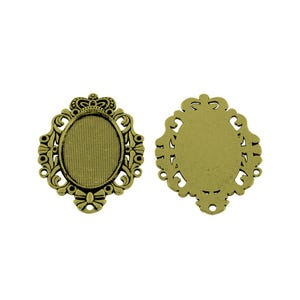 Antique Bronze Metal Alloy 35mm x 48mm Oval Cabochon Settings Pack Of 4 Y11190