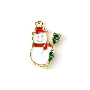 White/Red Enamel & Alloy Snowman Charms 13mm x 22mm Pack Of 6 Y11225