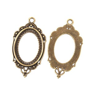 Antique Bronze Metal Alloy 23.5mm x 42mm Oval Cabochon Settings Pack Of 15 Y11230