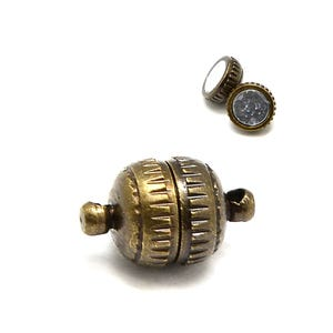 Antique Bronze Brass 6mm x 11mm Round Magnetic Clasps Pack Of 5 Y11295