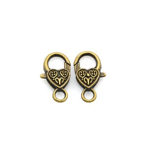 Antique Bronze Metal Alloy 14mm x 25mm Heart Lobster Clasps Pack Of 5 Y11305