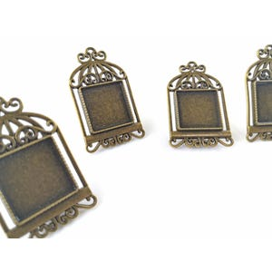 Antique Bronze Metal Alloy 29mm x 48mm Bird Cage Cabochon Settings Pack Of 4 Y11310
