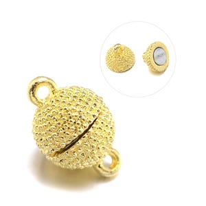 Gold Metal Alloy 8mm x 13mm Round Magnetic Clasps Pack Of 3 Y11315