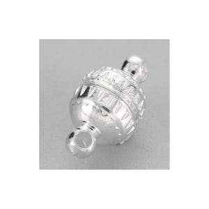 Silver Brass 6mm x 11mm Round Magnetic Clasps Pack Of 5 Y11350